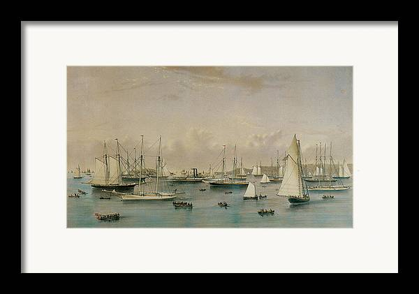 Natuaniel Currier Framed Print featuring the painting The Yacht Squadron At Newport by Nathaniel Currier and James Merritt Ives