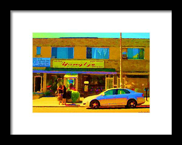 Montreal Framed Print featuring the painting The Yangtze Chinese Food Restaurant On Van Horne Montreal Memories Cafe Street Scene Carole Spandau by Carole Spandau