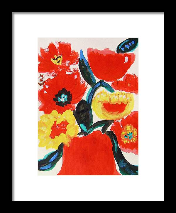 Red Flowers Framed Print featuring the painting These Had To Be Today by Mary Carol Williams