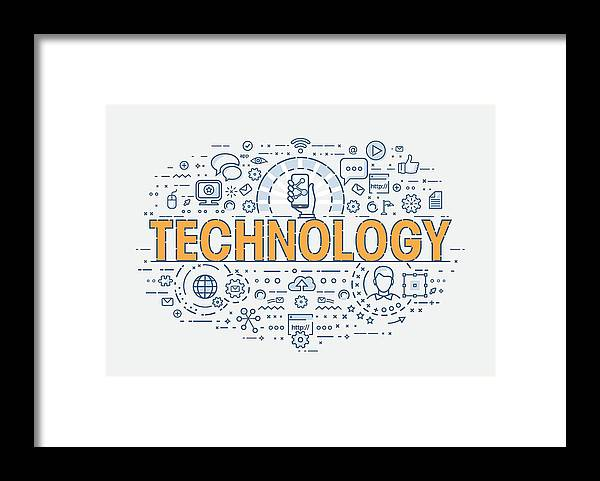 Internet Framed Print featuring the drawing Thin Concept - Technology by Creative-Touch