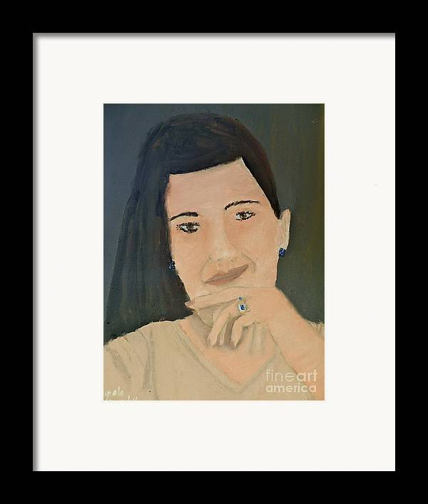 Portrait Framed Print featuring the painting Thinking Of What To Do Next by Pamela Meredith