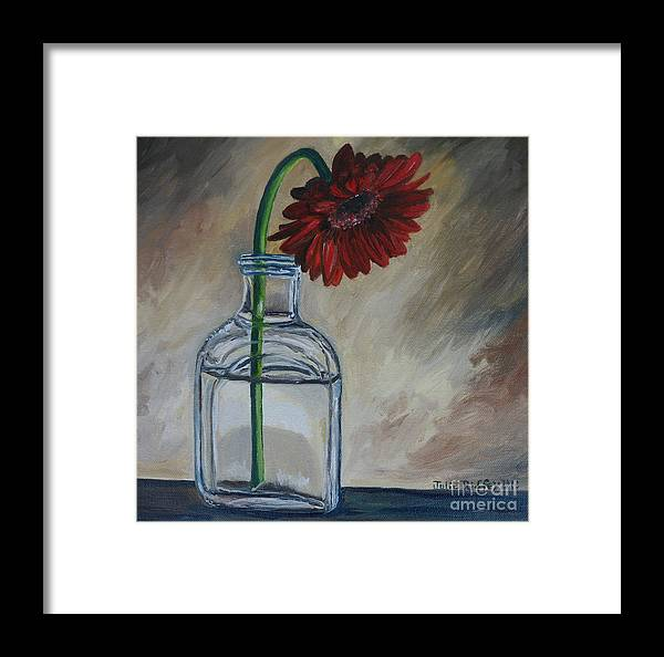 Gerbera Daisies Framed Print featuring the painting Thinking Of You by Julie Brugh Riffey