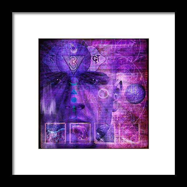 Chakra Framed Print featuring the digital art Third Eye Chakra by Mark Munroe-Preston