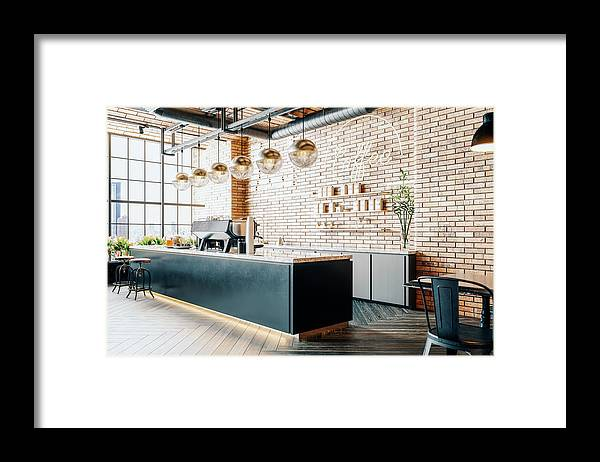 New Business Framed Print featuring the photograph Third Wave Coffee Shop Interior by Imaginima