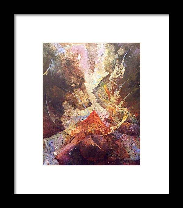 Abstract Framed Print featuring the painting This Too Shall Rise by Fred Wellner
