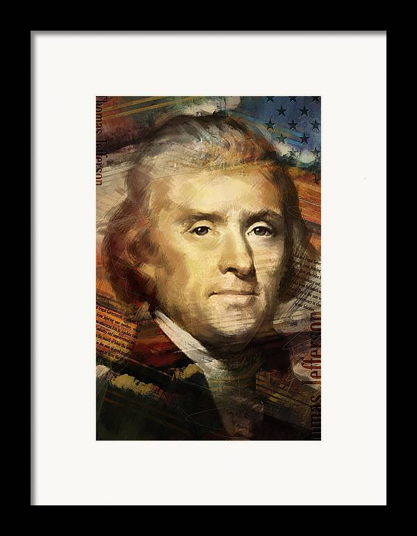 Thomas Jefferson Framed Print featuring the painting Thomas Jefferson by Corporate Art Task Force