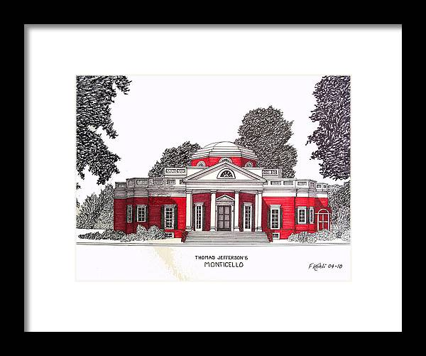 Ink Drawings Framed Print featuring the drawing Thomas Jefferson by Frederic Kohli