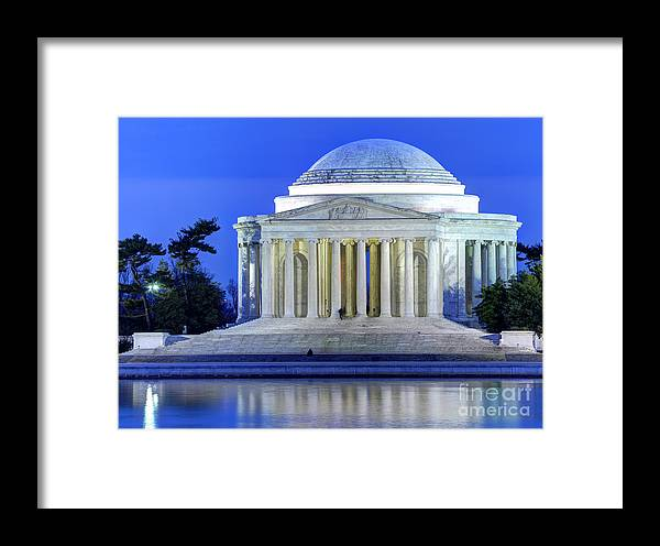 Jefferson Memorial Framed Print featuring the photograph Thomas Jefferson Memorial At Night Reflected In Tidal Basin by Gary Whitton