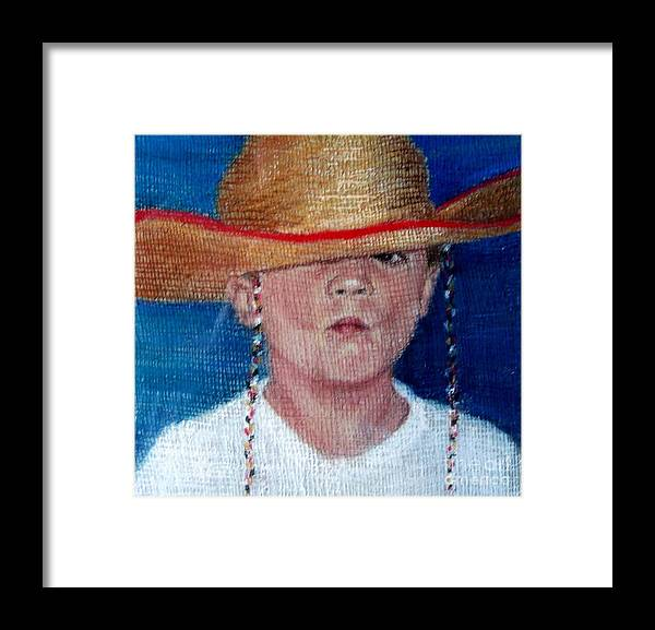 Portrait Of A Young Boy Framed Print featuring the painting Thomas by Mary Lynne Powers
