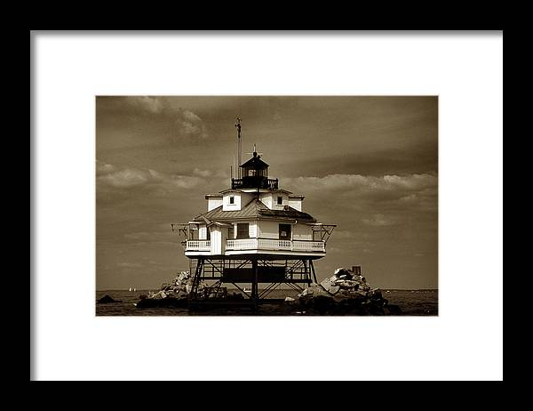 Sepia Framed Print featuring the photograph Thomas Point Shoal Lighthouse Sepia by Skip Willits