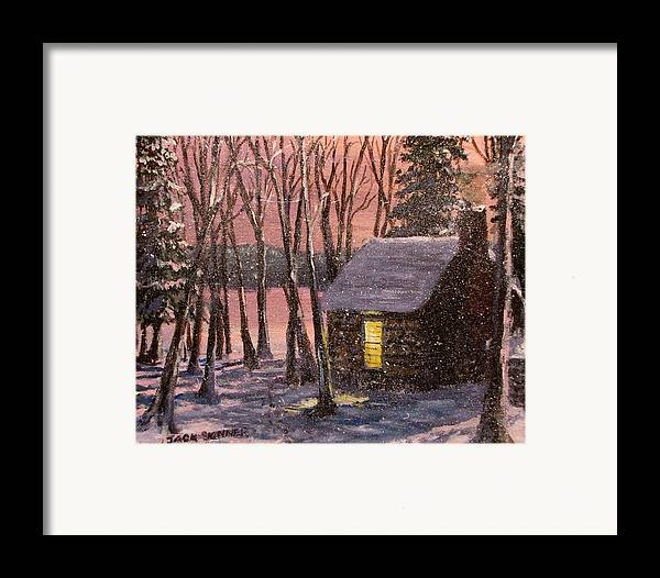 Thoreau's Cabin Framed Print featuring the painting Thoreau's Cabin by Jack Skinner