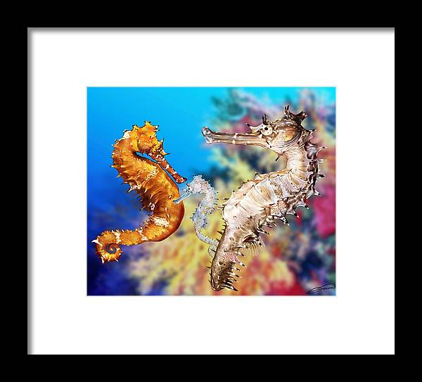 Seahorse Framed Print featuring the digital art Thorny Seahorse by Owen Bell