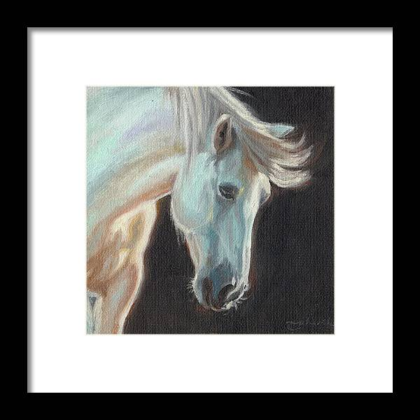Horse Framed Print featuring the painting Thoughtful by Tahirih Goffic