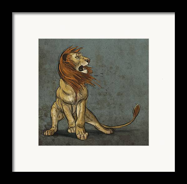 Lion Framed Print featuring the digital art Threatened by Aaron Blaise
