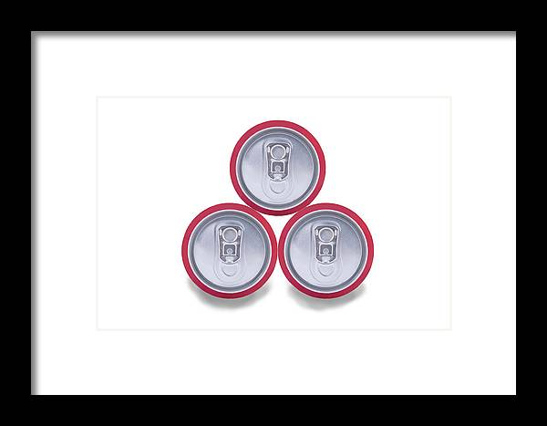 Cola Framed Print featuring the photograph Three Aluminum Drink Cans Shadow by Oscar Hurtado