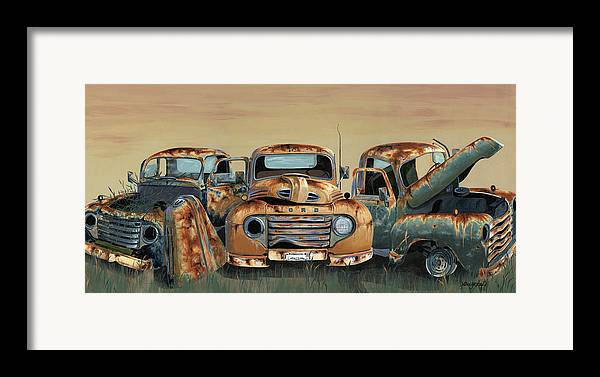 Truck Framed Print featuring the painting Three Amigos by John Wyckoff