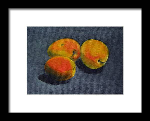 Food Framed Print featuring the painting Three Apricots by Sarah Lynch