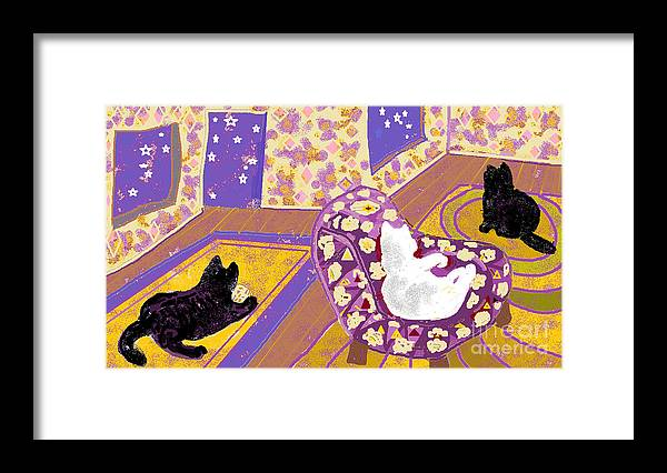Black Cats Framed Print featuring the digital art Three Cats by Beebe Barksdale-Bruner