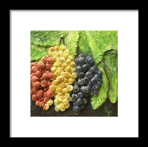 Grapes Framed Print featuring the painting Three Colors Of Grapes by Lorrie T Dunks
