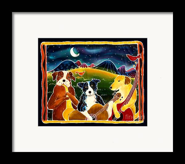 Dog Framed Print featuring the painting Three Dog Night by Harriet Peck Taylor