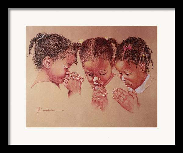 Three Girls Praying Framed Print By Pamela Mccabe