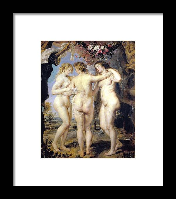 Three Graces Framed Print featuring the digital art Three Graces by Peter Paul Rubens
