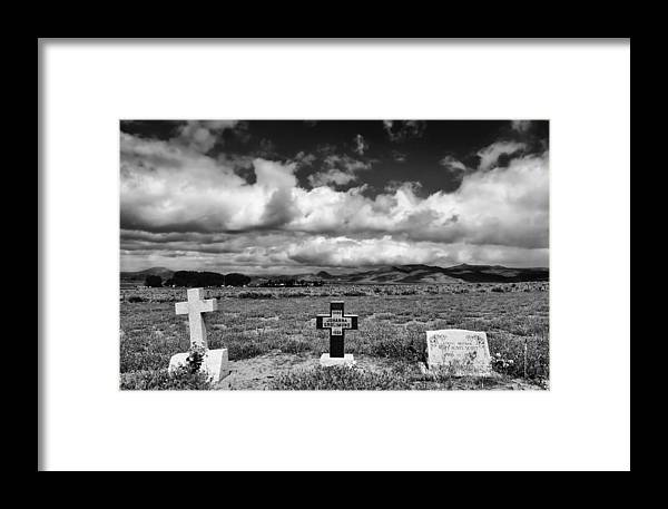 Headstones Framed Print featuring the photograph Three Headstones by Mick Burkey