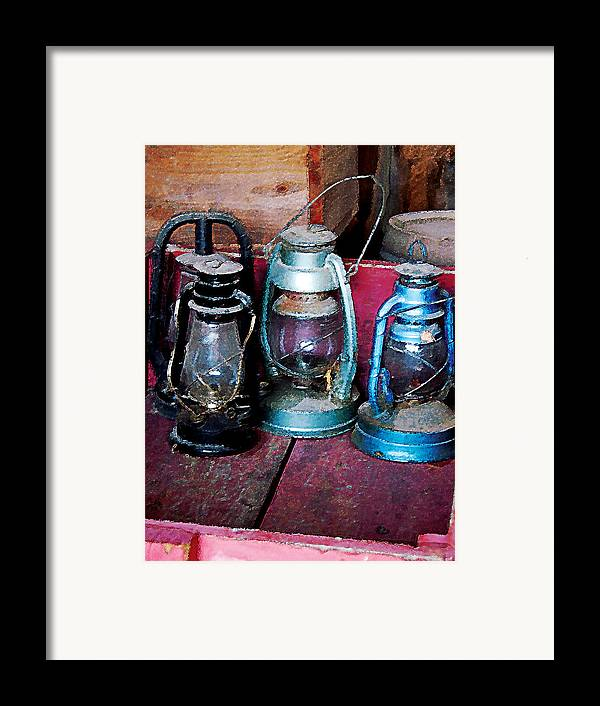 Lamp Framed Print featuring the photograph Three Kerosene Lamps by Susan Savad