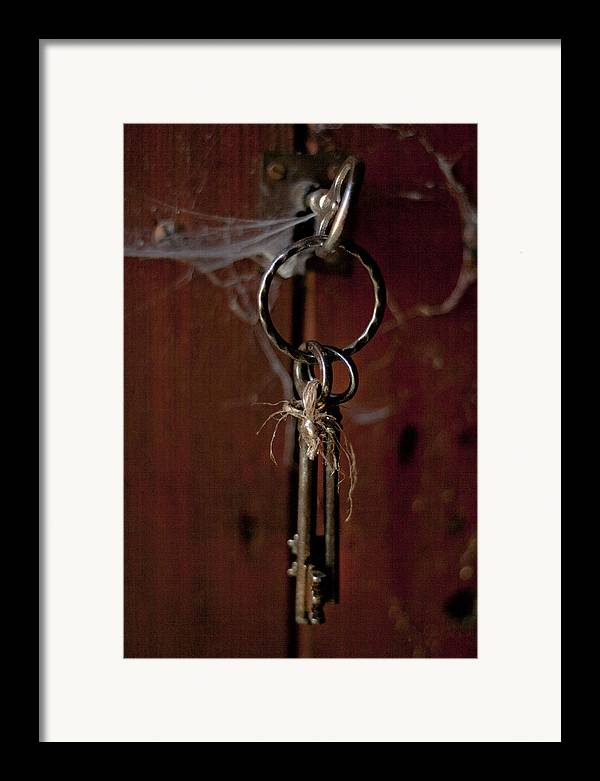 Abstract Framed Print featuring the photograph Three Keys by Georgia Fowler