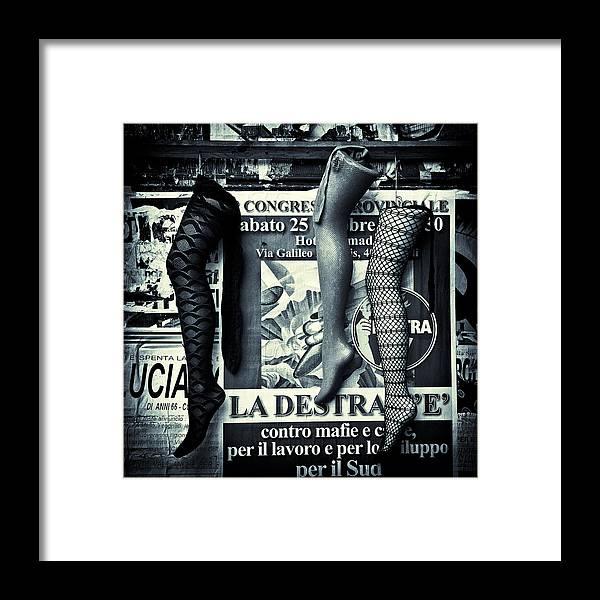 Mannequin Framed Print featuring the photograph Three Mannequin Legs by Dave Bowman