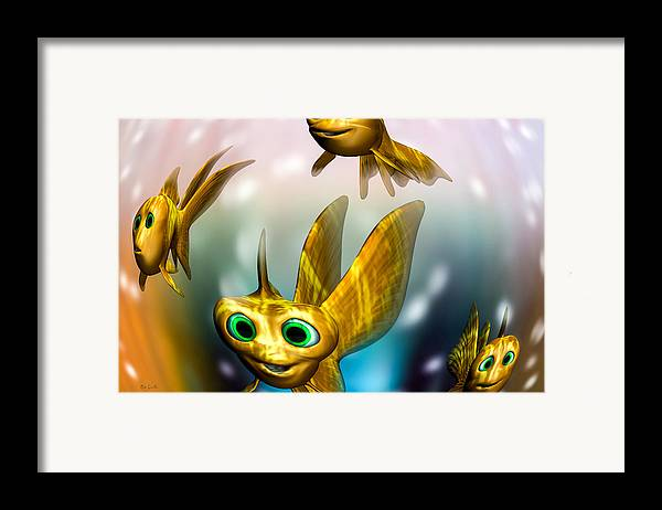 Three Little Fishies And A Mama Fishie Too Framed Print featuring the digital art Three Little Fishies And A Mama Fishie Too by Bob Orsillo