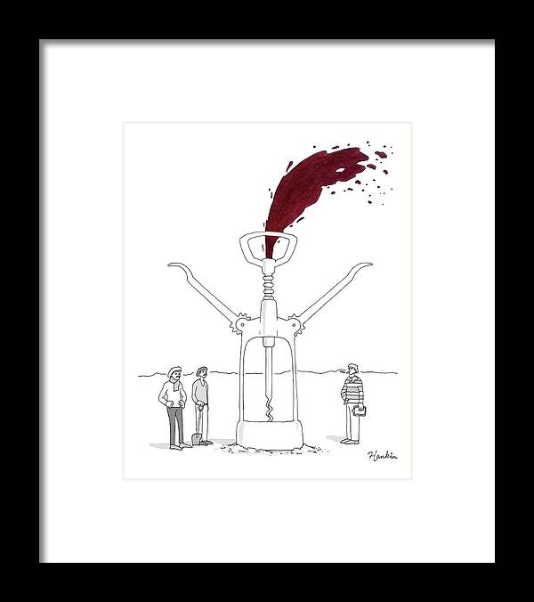 Captionless Framed Print featuring the drawing Three Men In Berets Drill Into The Ground by Charlie Hankin