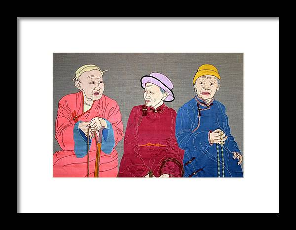 Textile Framed Print featuring the mixed media Three Mongolians by Leslie Rinchen-Wongmo