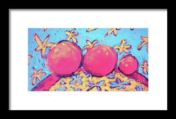 Fruit Framed Print featuring the painting Three Oranges by Diane STEVENETT