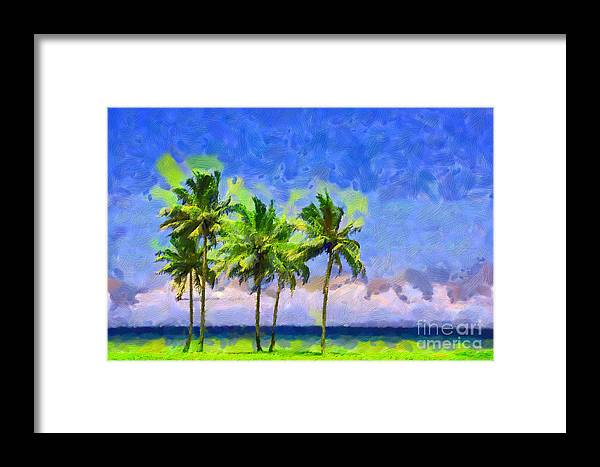Palms Framed Print featuring the painting Three Palms by George Fedin and Magomed Magomedagaev