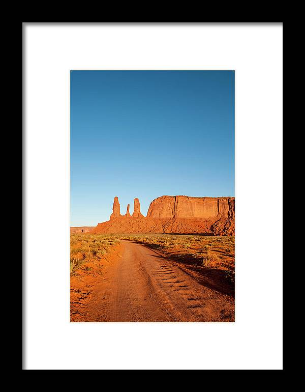 Arid Framed Print featuring the photograph Three Sisters Mitchell Mesa, Monument by Michael Defreitas
