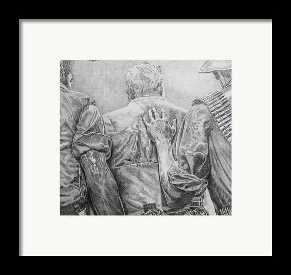Three Soldiers Framed Print featuring the drawing Three Soldiers by Robert Tracy