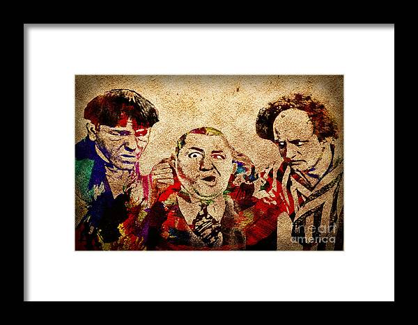 The Three Stooges Framed Print featuring the photograph Three Stooges Graffiti by Gary Keesler