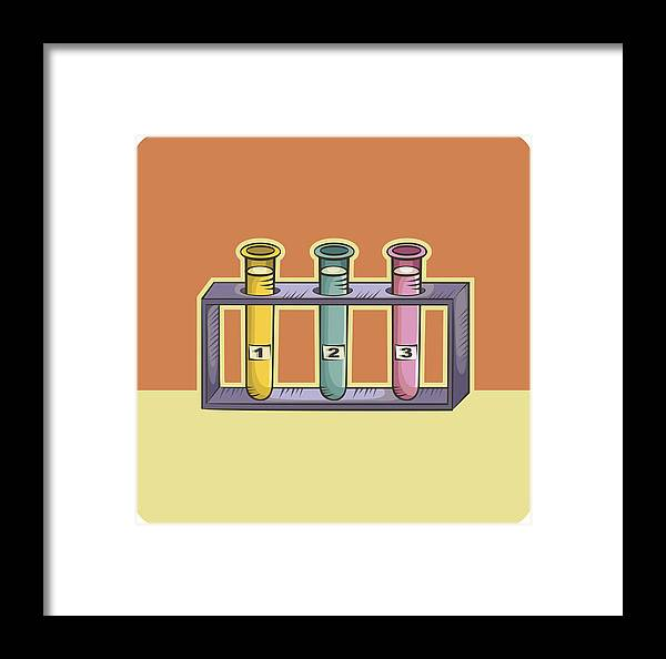 Research Framed Print featuring the drawing Three Test Tubes by Imagezoo