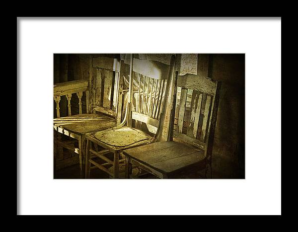 Art Framed Print featuring the photograph Three Vintage Wooden Chairs by Randall Nyhof
