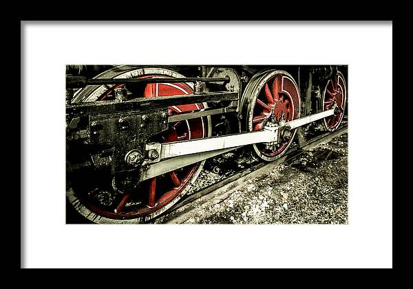 train Wheels Framed Print featuring the photograph Three Wheels by Christy Usilton
