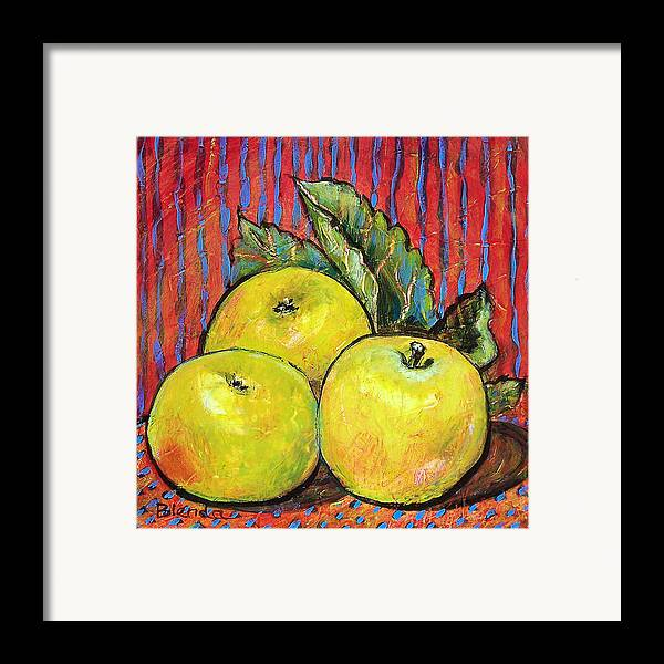 Painting Framed Print featuring the painting Three Yellow Apples by Blenda Studio