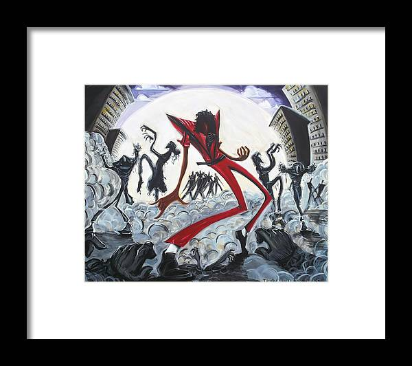 Thriller Framed Print featuring the painting The Thriller V2 by Tu-Kwon Thomas