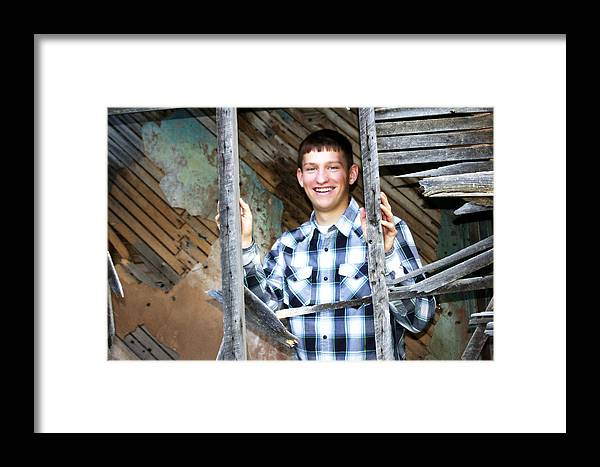 Brett Herr Framed Print featuring the photograph Through The Stairs by Michele Richter