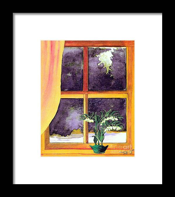 Fine Art Framed Print featuring the painting Through the Window by Patricia Griffin Brett