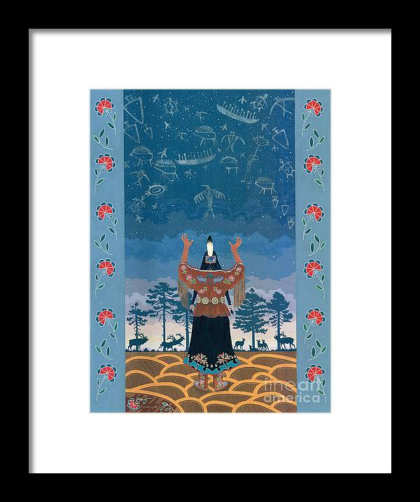 America Framed Print featuring the painting Thunder Girl II by Chholing Taha