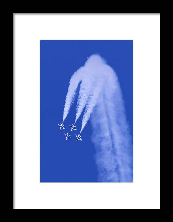 Thunderbirds Framed Print featuring the photograph Thunderbirds Diamond Formation Downwards by Donna Corless