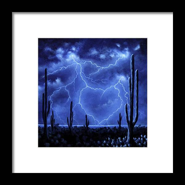 Lightning Framed Print featuring the painting Thunderheart by Ric Nagualero