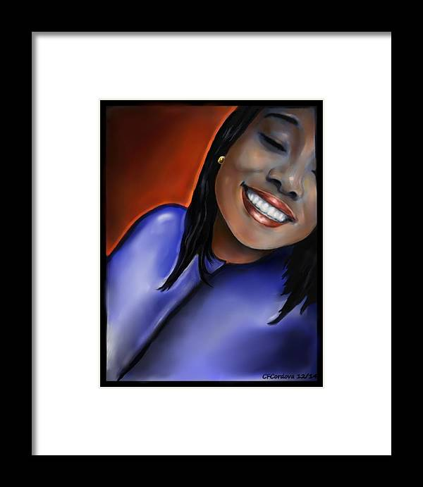 Girl Framed Print featuring the digital art Tianni by Carmen Cordova