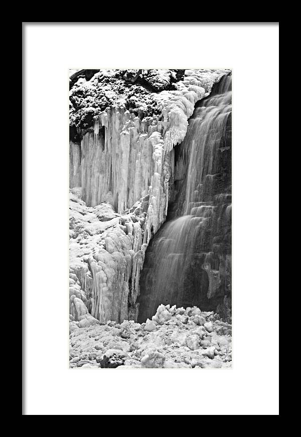 Dundas Framed Print featuring the photograph Tiffany Falls - A Study In Black And White by Alan Norsworthy